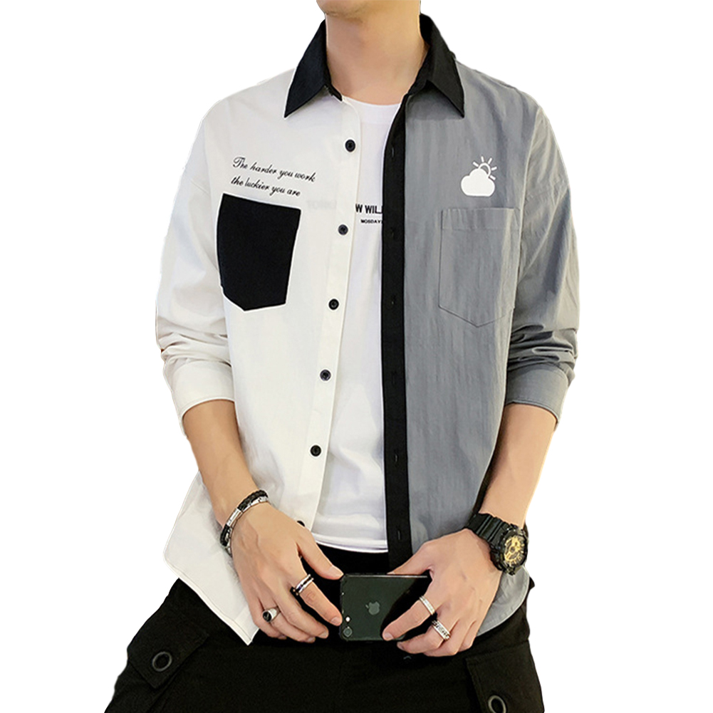 Men Shirt Long Sleeve Autumn Teenagers Loose Color Matching Blouse White gray_2XL