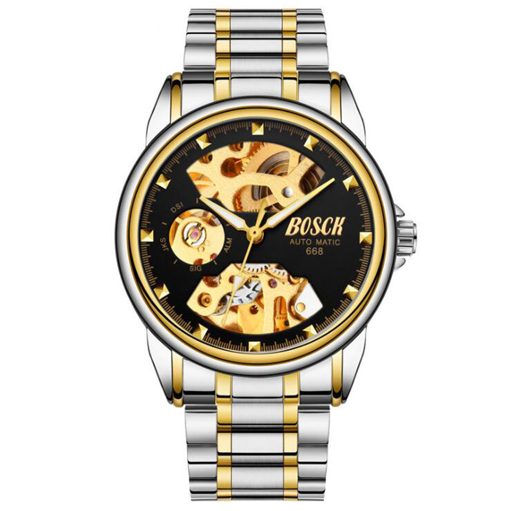 Men Automatic Mechanical Watches Silver Black