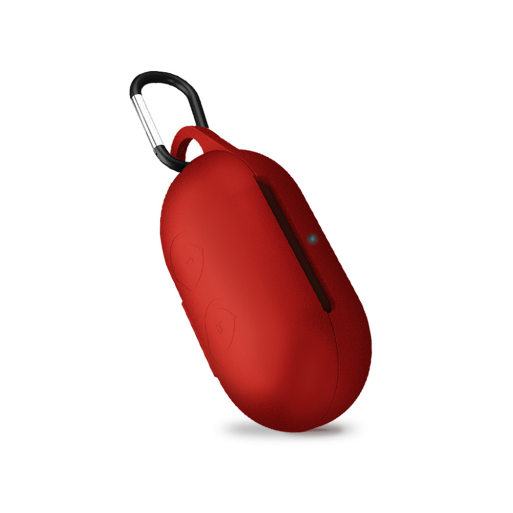 Silicone Bluetooth Earphones Case Shockproof Wireless Headphone Protective Box with Hook red
