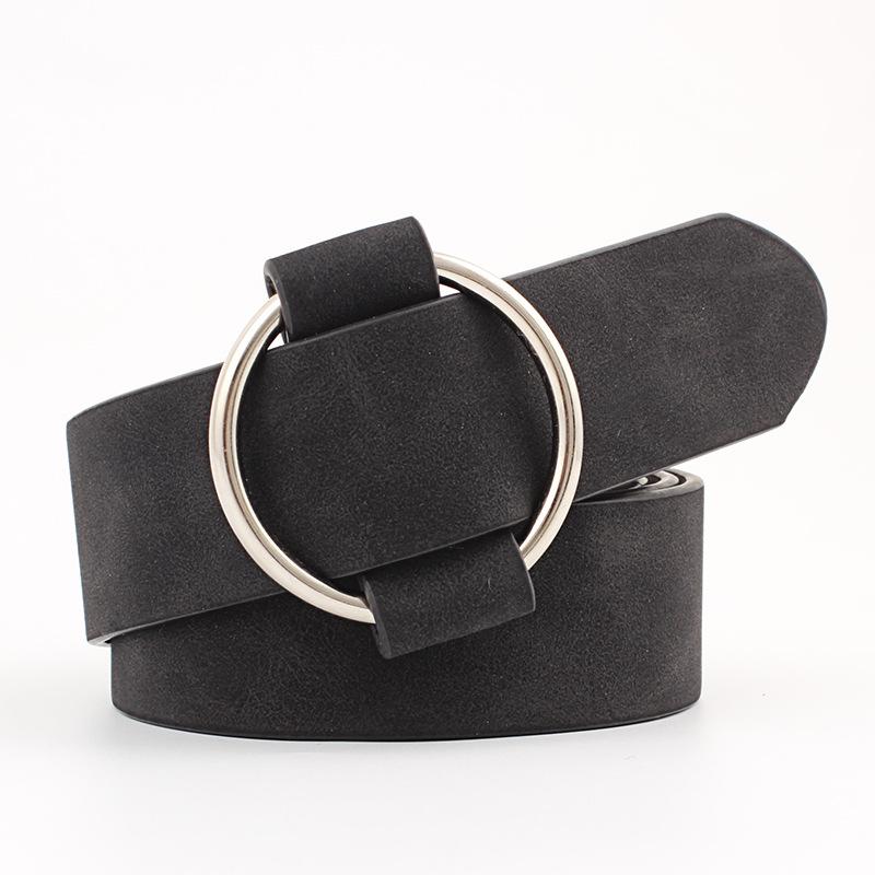 Female Imitation Leather Belt without Needle Round Buckle Wide Belt black_Length 103 width 3