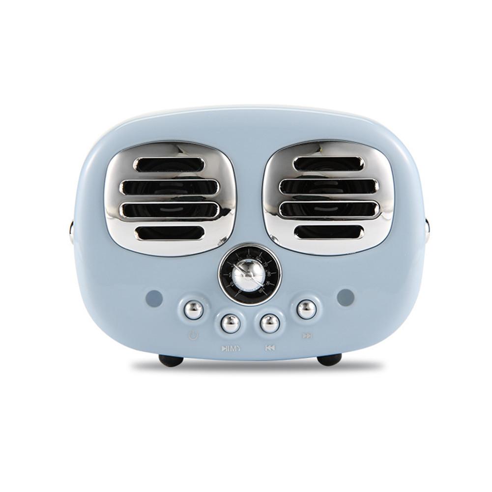 Retro Bluetooth Wireless USB TF Card Dual Speaker Small Speaker Box blue
