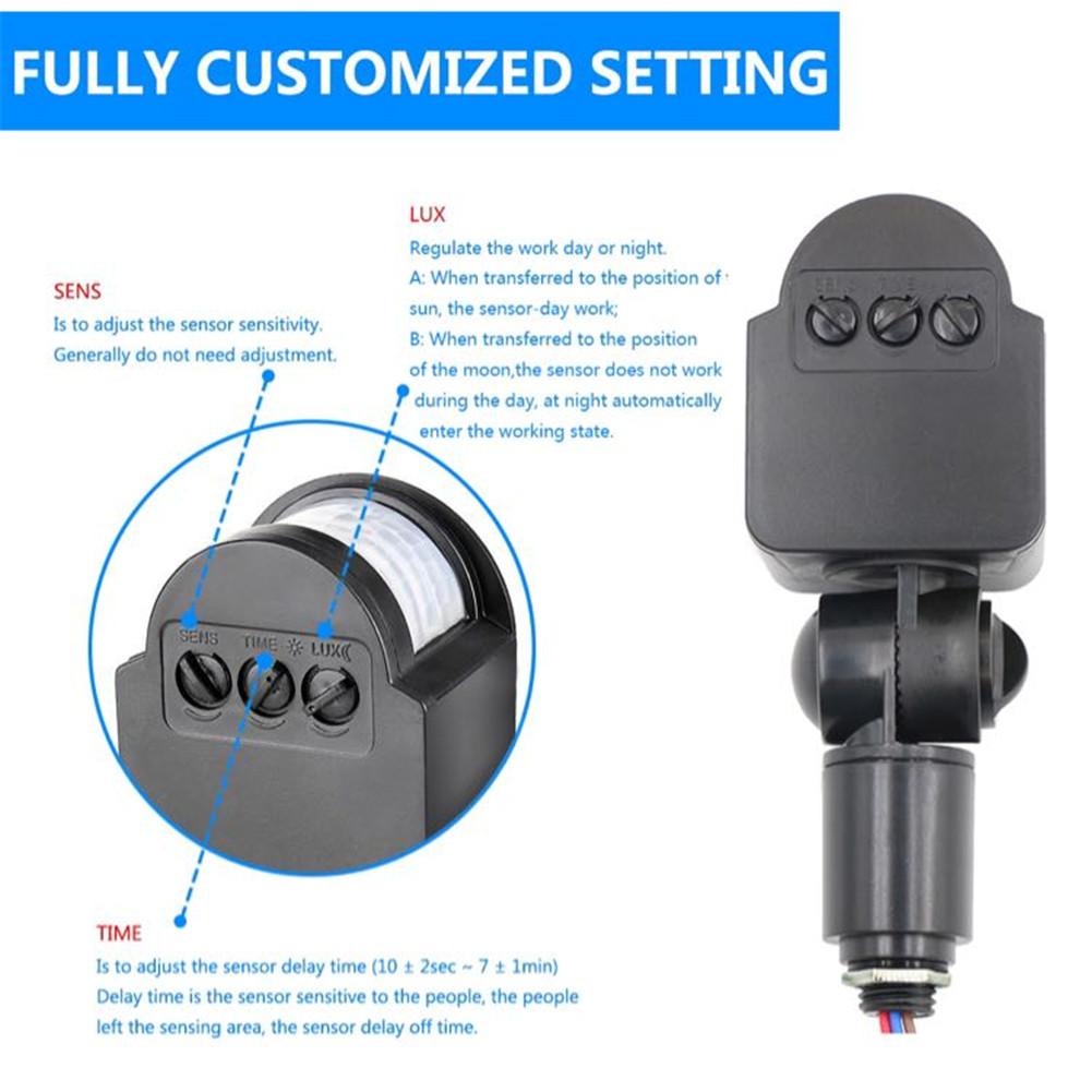 12V Infrared Sensor Switch Body Motion Detector Wide Sensitive Range Practical Wall Light Switch 12V black