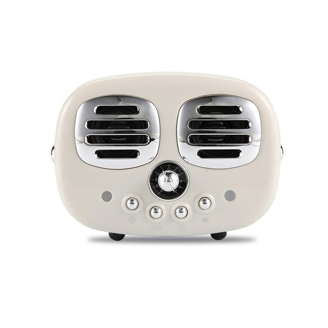 Retro Bluetooth Wireless USB TF Card Dual Speaker Small Speaker Box white