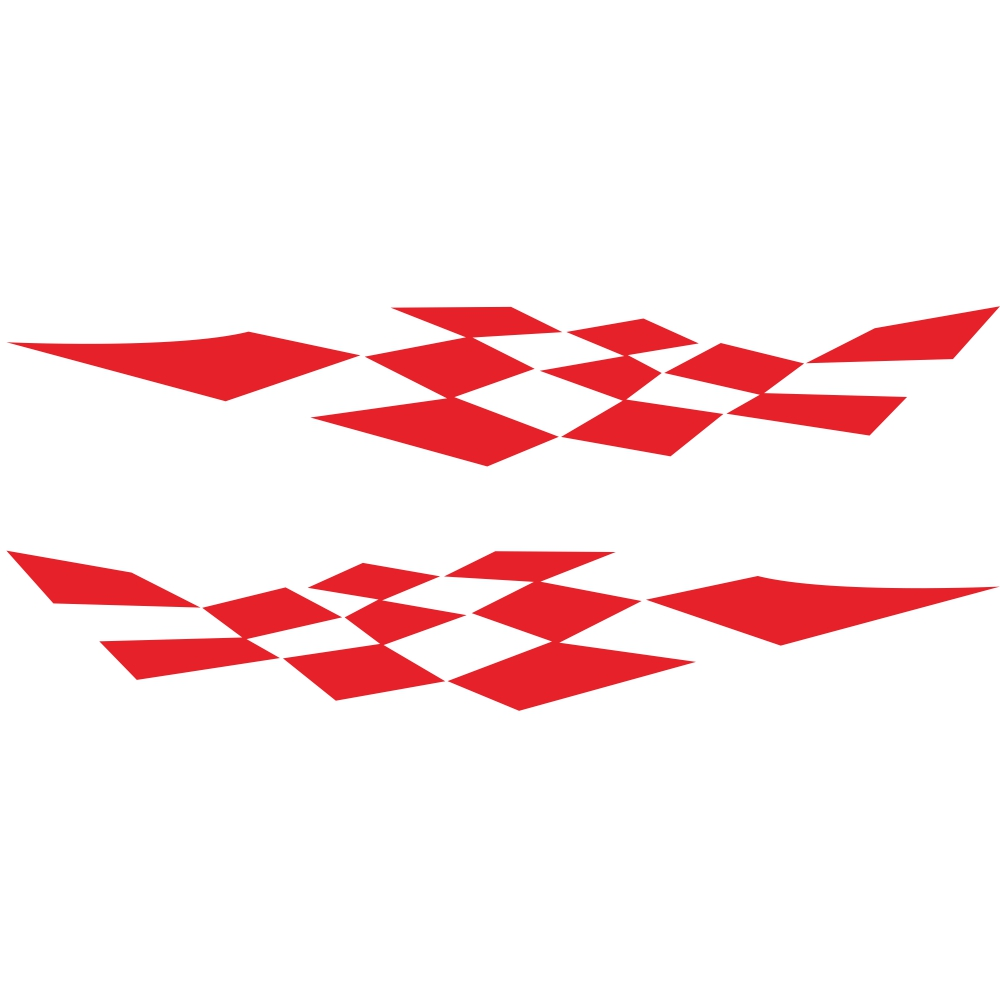 1 Pair Car Stickers Racing Sports Stripe Grid Totem Auto Side Body Decals Car Sticker red