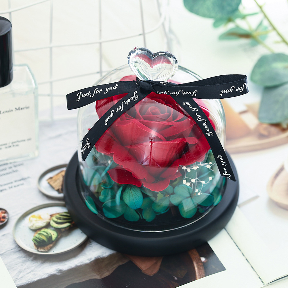 Valentines Day Gift Exclusive Rose In Glass Dome with Lights Eternal Real Rose Mother's Day Gifts Red