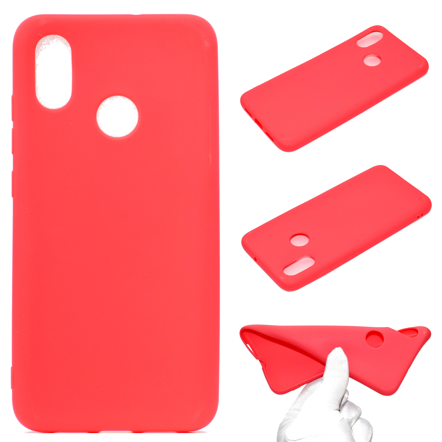 for XIAOMI Redmi S2 Lovely Candy Color Matte TPU Anti-scratch Non-slip Protective Cover Back Case red
