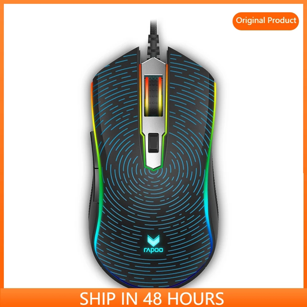 V25S RGB Wired Computer Mouse Ergonomic Mouse 8 Programmable Buttons Macro Definition 7-speed Dpi Adjustment Black