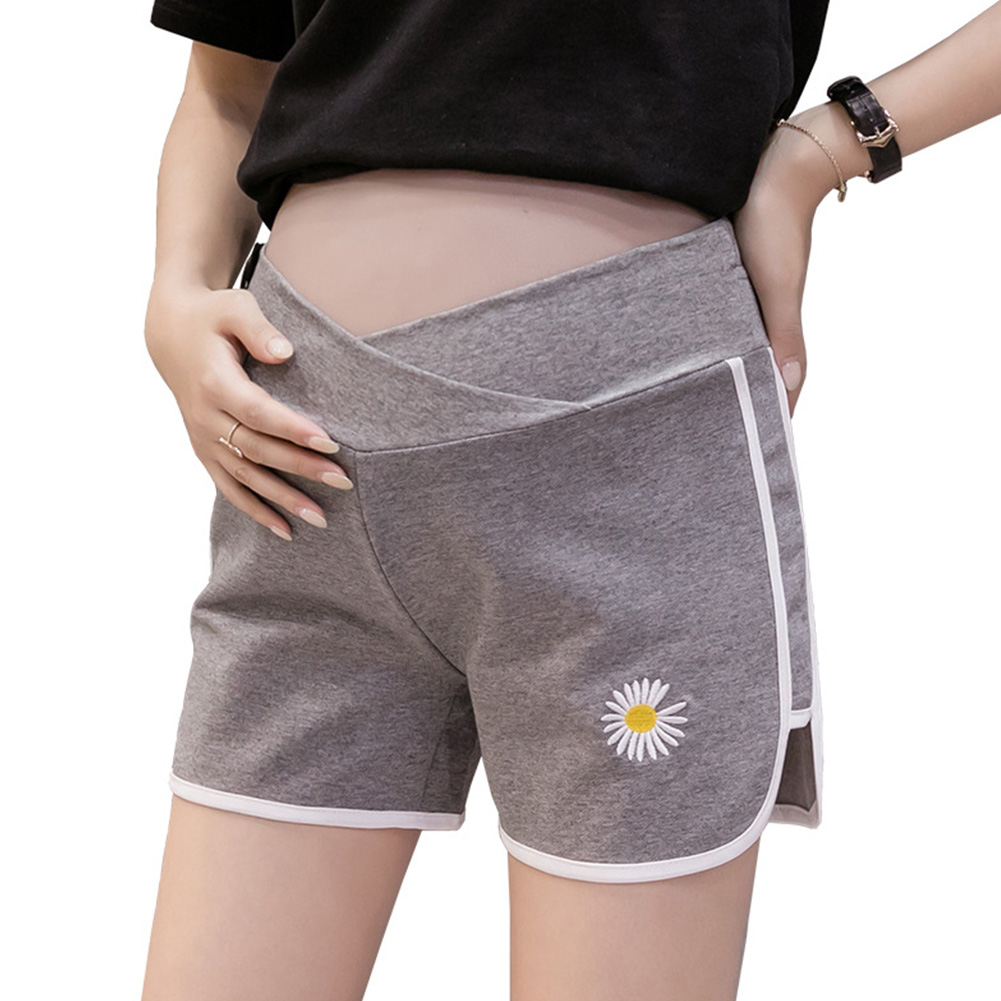 Pregnant Women Pants Summer Casual Fashion Daisy Printing Abdominal Shorts Maternity gray_XL