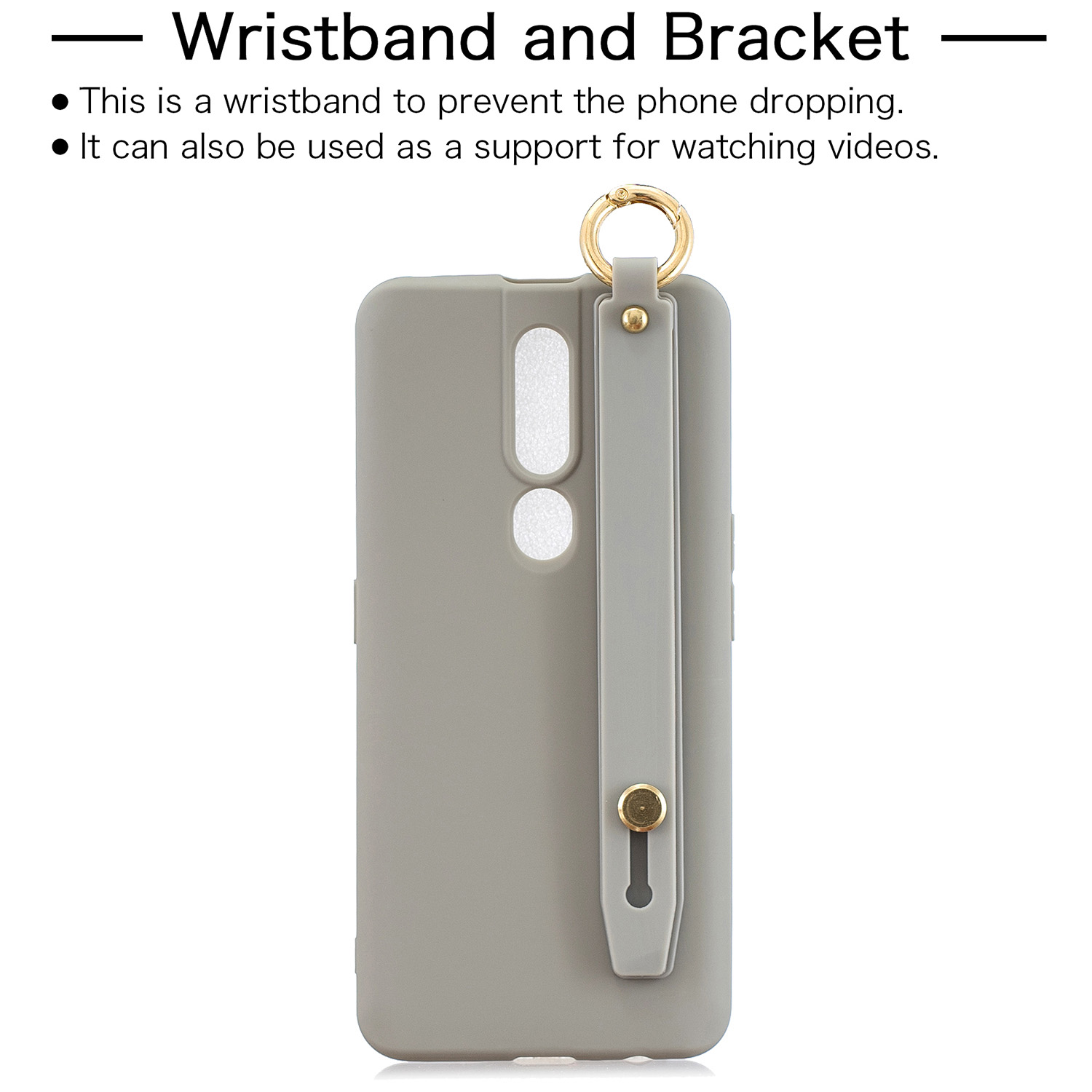 For OPPO F11 pro Simple Solid Color Chic Wrist Rope Bracket Matte TPU Anti-scratch Non-slip Protective Cover Back Case 12 gray