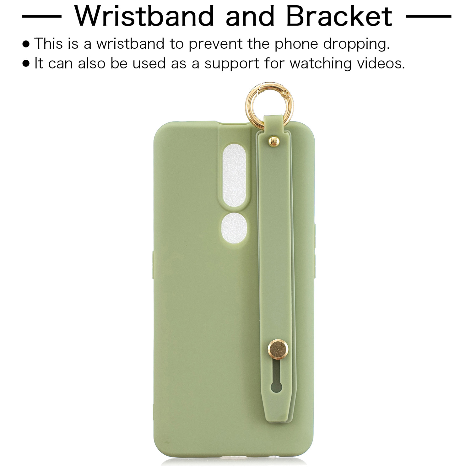 For OPPO F11 pro Simple Solid Color Chic Wrist Rope Bracket Matte TPU Anti-scratch Non-slip Protective Cover Back Case 10 beans green