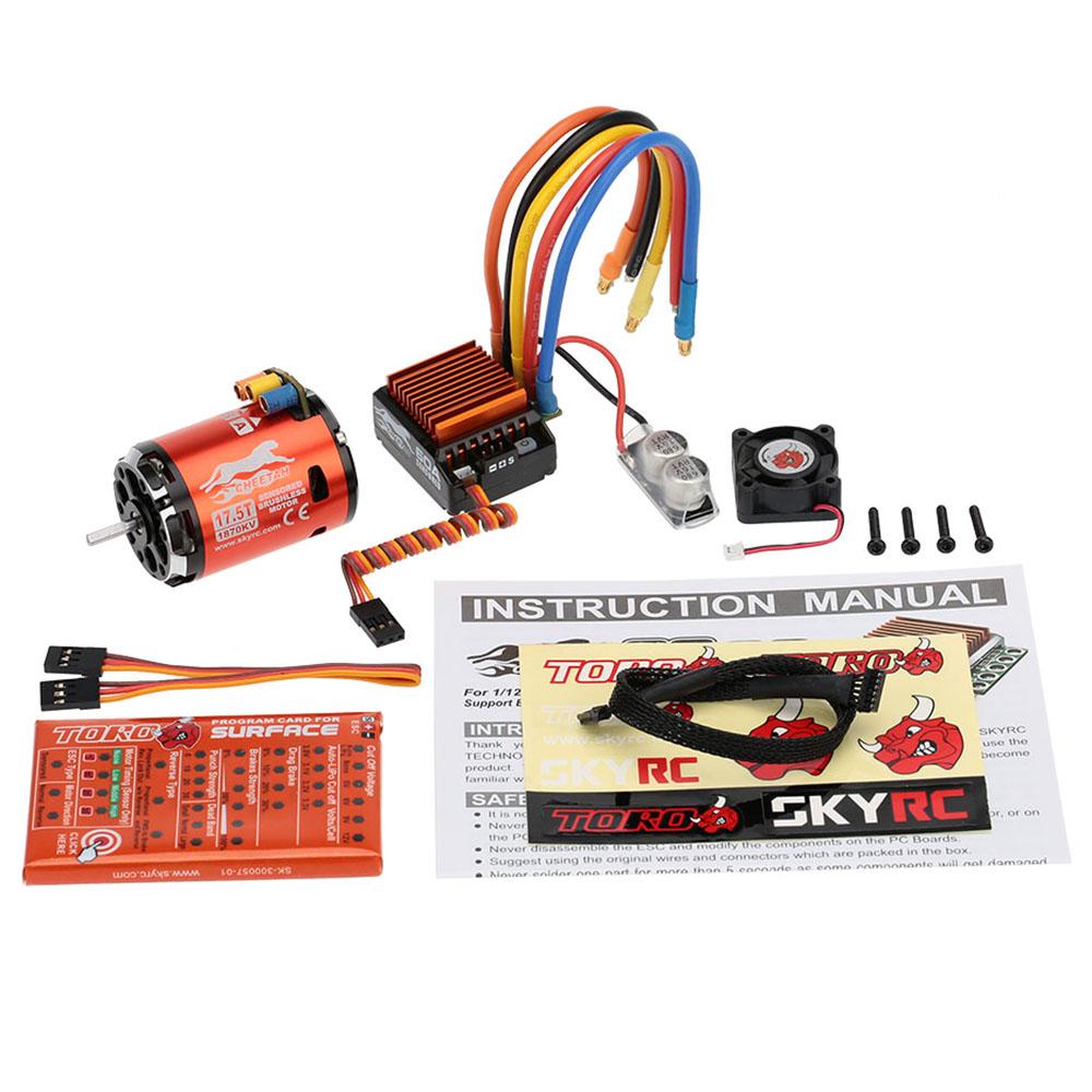 17.5T 2P 1870KV RC Brushless Motor Sensored Sensorless Motor CS60 60A ESC LED Program Card for RC Car 1/10 1/12 Buggy Car 17.5T 1870KV