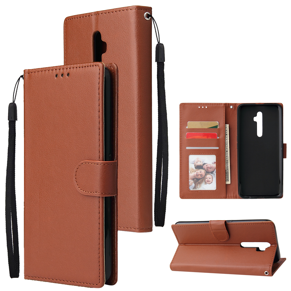 For Oppo A9 2020/Reno 2Z Cellphone Shell PU Leather Mobile Phone Cover Stand Available Anti-drop Elegant Smartphone Case Brown
