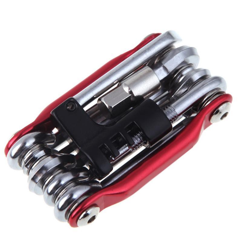 Multifunction Bicycle Repairing Set Carbon Steel Bike Repair Kit Wrench Screwdriver Chain red