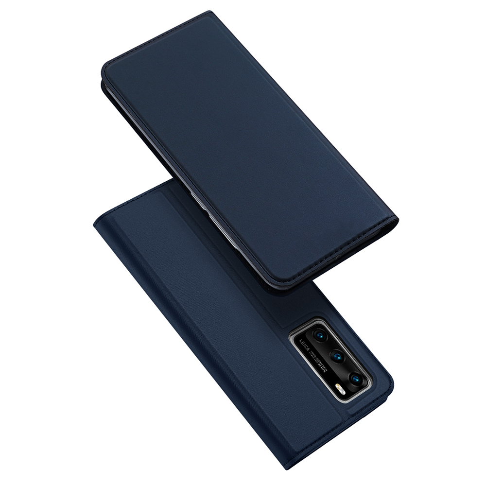 DUX DUCIS For HUAWEI P40 Leather Mobile Phone Cover Magnetic Protective Case Bracket with Cards Slot blue