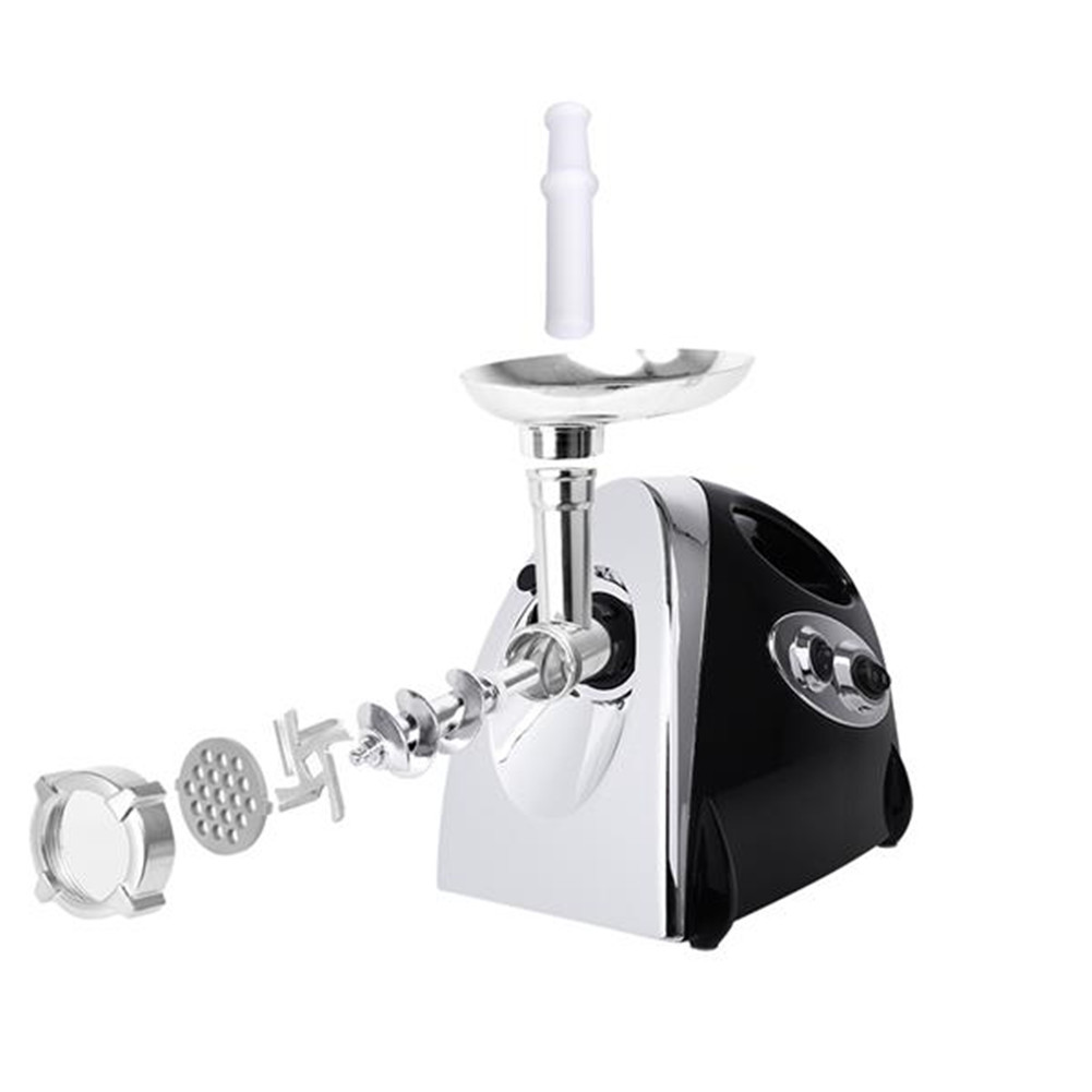 [US Direct] 304 Stainless Steel Alloy Aluminum Electric  Meat  Grinder Sausage Stuffer With Black Handle black