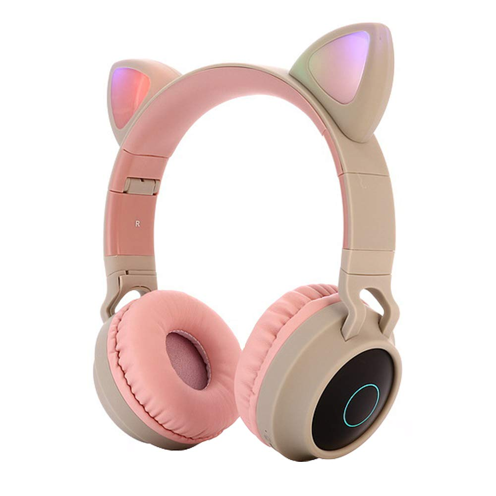 Cute Cat Ear Bluetooth 5.0 Headphones Foldable On-Ear Stereo Wireless Headset with Mic LED Light Support FM Radio/TF Card/Aux in for Smartphones PC Tablet  Pink gray