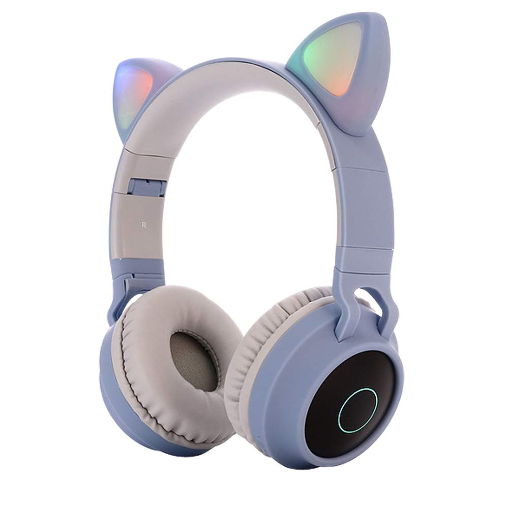 Cute Cat Ear Bluetooth 5.0 Headphones Foldable On-Ear Stereo Wireless Headset with Mic LED Light Support FM Radio/TF Card/Aux in for Smartphones PC Tablet  Blue gray