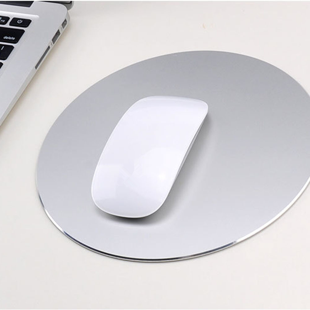 Round Mouse Mat Aluminum Anti Slip Rubber Bottom Gaming Mouse Pad Computer Accessory Silver_20CM