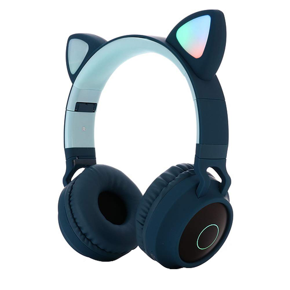 Cute Cat Ear Bluetooth 5.0 Headphones Foldable On-Ear Stereo Wireless Headset with Mic LED Light Support FM Radio/TF Card/Aux in for Smartphones PC Tablet  blue