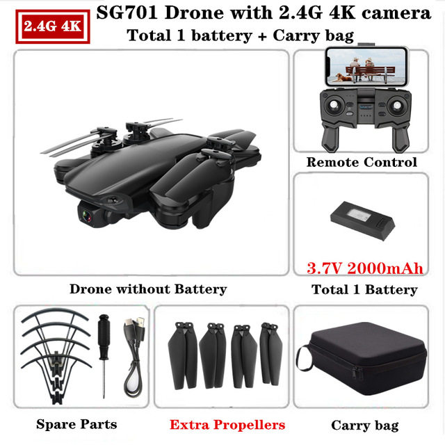 SG701 SG701-S GPS Drone with 5G WIFI FPV 4K Dual HD Camera Optical Flow Quadcopter Foldable RC Helicopter VS S167 E520S 2.4g storage bag