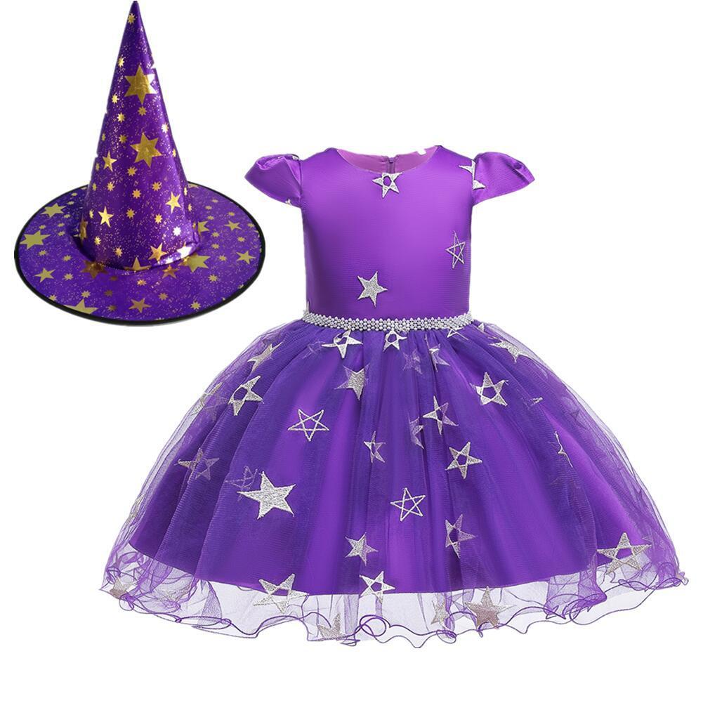 Kids Girls Halloween Witch Hat Star Princess Dress Set for Party Wear purple_100cm