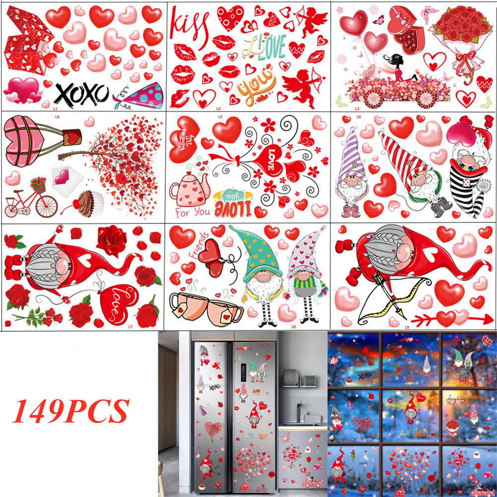 9Sheets 149Pcs Window Clings Glass Window Stickers Decals Decorations for Wedding Anniversary Valentine Day