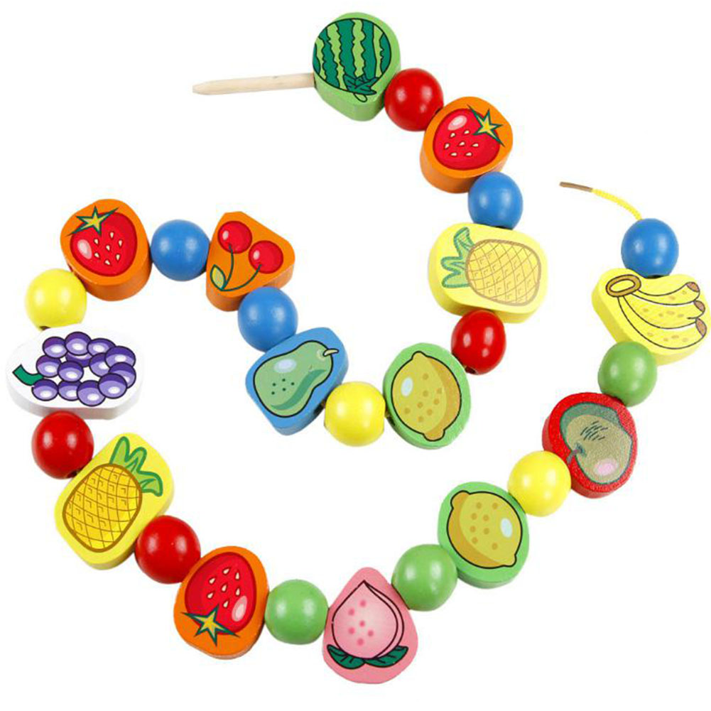 Wooden Fruit Shape Beads Blocks with Rope Puzzle Toy for Kids Baby Boys Girls