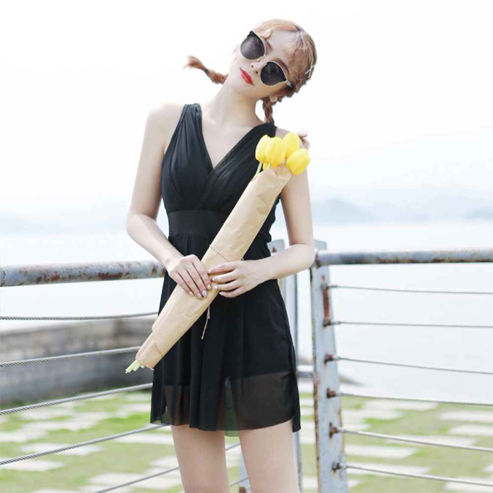 Women  Swimsuit  Skirt-style One-piece Sleeveless Plain Color Gauze Sexy Slimming Swimsuit black_L