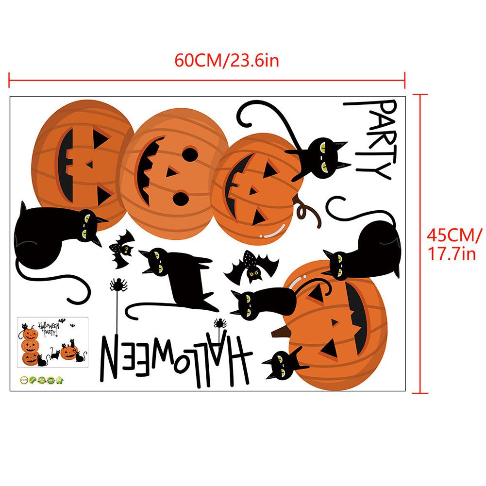 1 Set 45*60cm Bat Pumpkin Halloween Wall Srickers for Living Room Bedroom Decoration 45*60cm