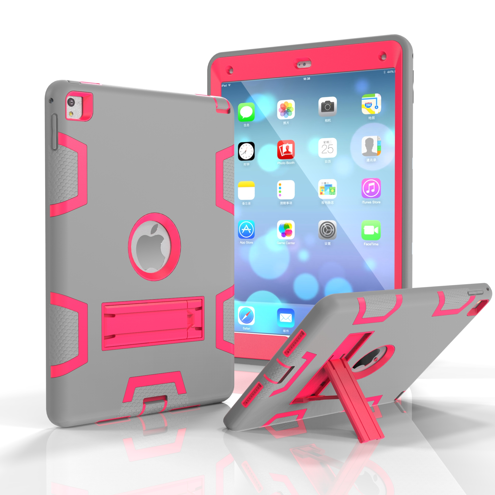 For iPad air2/iPad 6/iPad pro 9.7 2016 PC+ Silicone Hit Color Armor Case Tri-proof Shockproof Dustproof Anti-fall Protective Cover  Gray + rose red