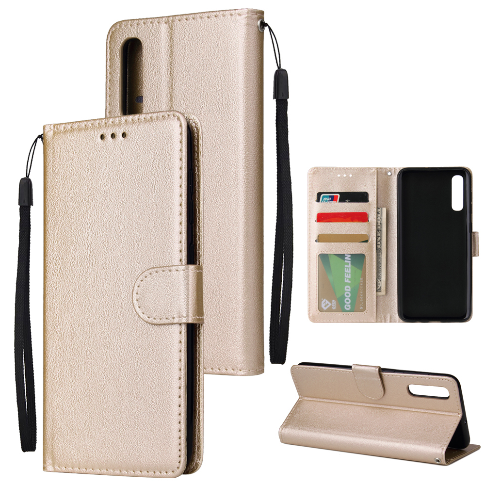 For Samsung A50 Wallet-type PU Leather Protective Phone Case with Buckle & 3 Card Position Gold