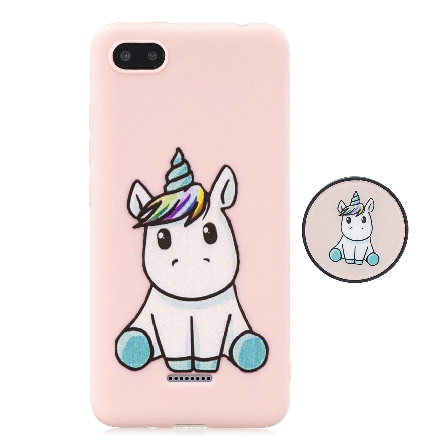 For Redmi 6A Phone Cases TPU Full Cover Cute Cartoon Painted Case Girls Mobile Phone Cover with Matched Pattern Adjustable Bracket 6