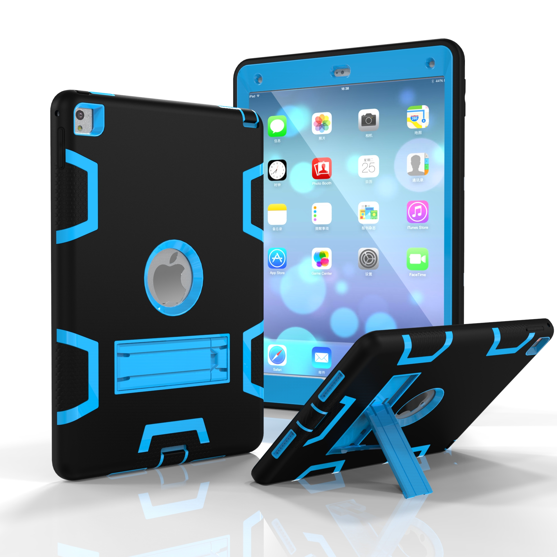 For iPad air2/iPad 6/iPad pro 9.7 2016 PC+ Silicone Hit Color Armor Case Tri-proof Shockproof Dustproof Anti-fall Protective Cover  Black + blue