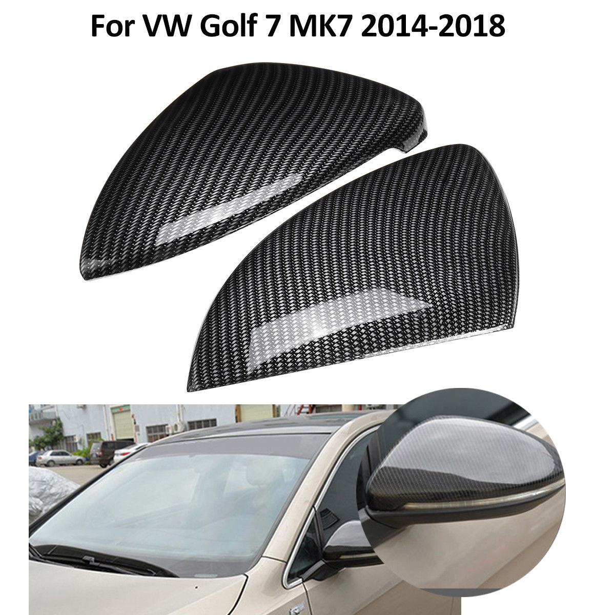 2 pcs Car Side Mirror Cover Trim FIt for VW Volkswagen Golf 7 MK7 2014 2015 2016 2017 2018