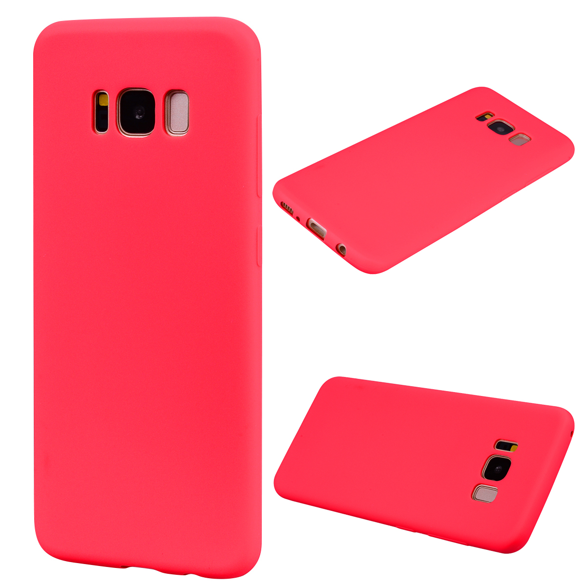 for Samsung S8 Lovely Candy Color Matte TPU Anti-scratch Non-slip Protective Cover Back Case red