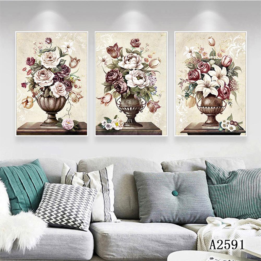3Pcs/Set Paint Flowers Canvas  Painting Print Wall  Art  Picture Living  Room  Decoration Style One_30x40cm
