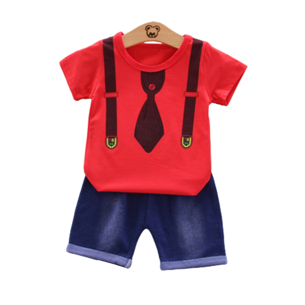 2pcs/set Boys Short-sleeve Suit Cotton Necktie Printed for 0-4 Years Old Baby red_90cm