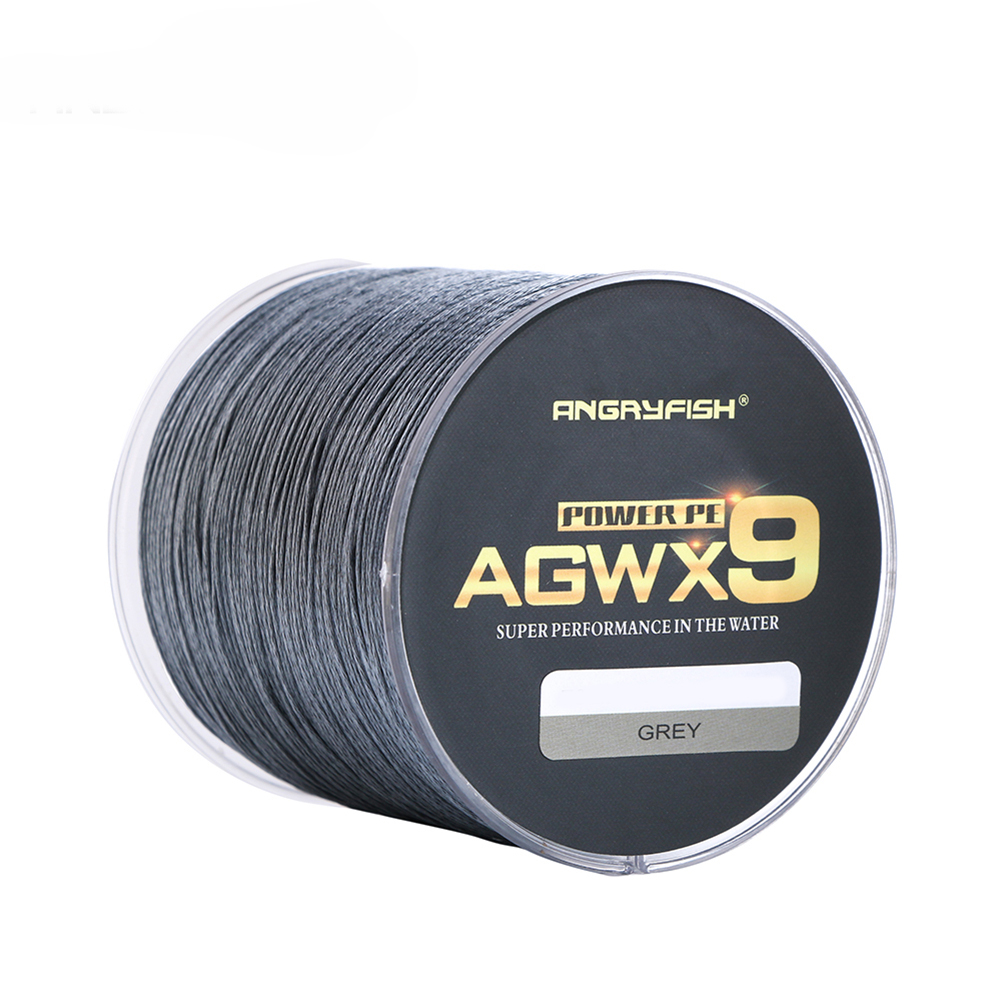 ANGRYFISH Diominate X9 PE Line 9 Strands Weaves Braided 500m/547yds Super Strong Fishing Line 15LB-100LB Gray 1.0#: 0.16mm/25LB