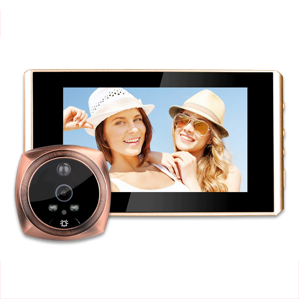 Electronic Doorbell Peep Hole 4.3 Inch Motion Detection with Doorbell Video Camera Night Vision Function Gold