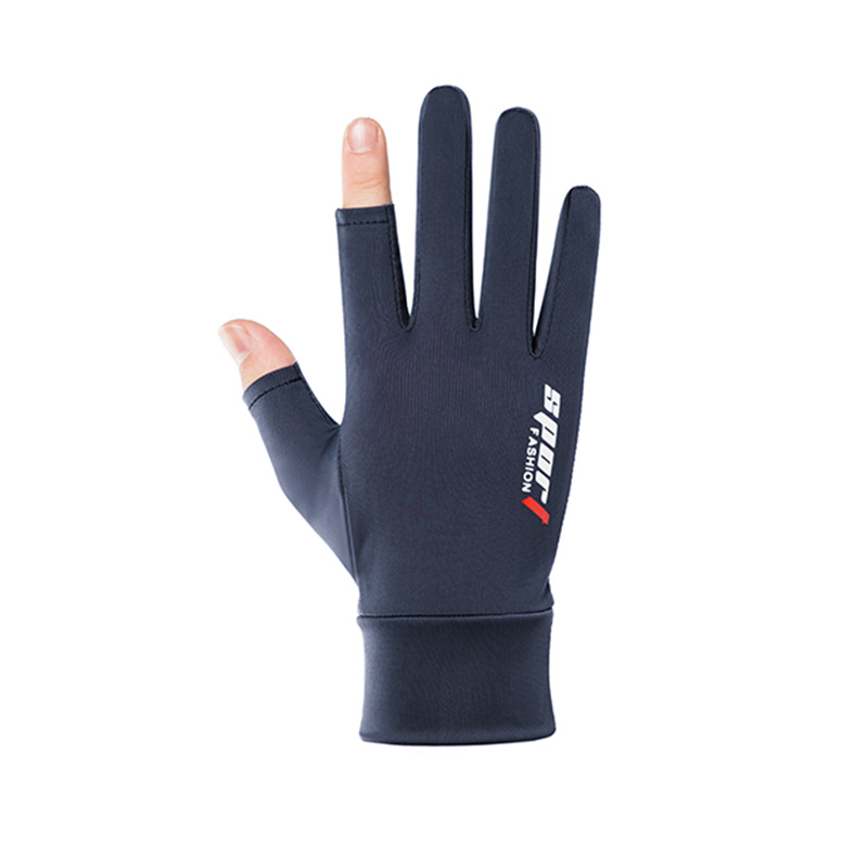 Ice Silk Non-Slip Gloves Breathable Outdoor Sports Driving Riding Touch Screen Gloves Thin Anti-UV Protection Two finger blue_One size