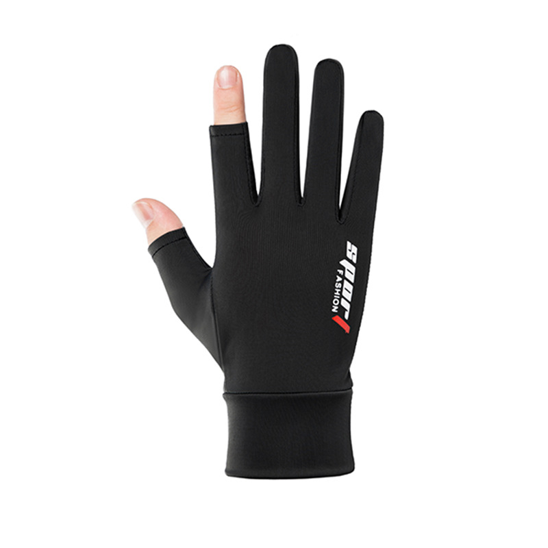 Ice Silk Non-Slip Gloves Breathable Outdoor Sports Driving Riding Touch Screen Gloves Thin Anti-UV Protection Two finger black_One size