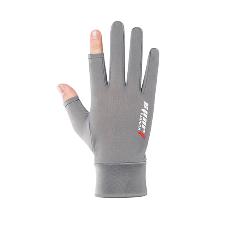 Ice Silk Non-Slip Gloves Breathable Outdoor Sports Driving Riding Touch Screen Gloves Thin Anti-UV Protection Two finger gray_One size