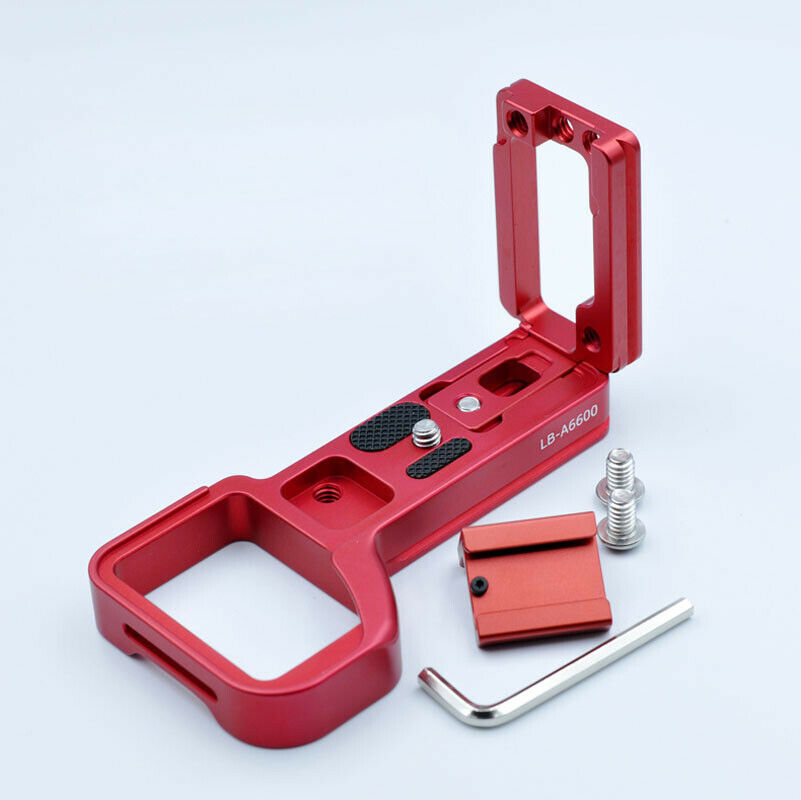 Quick Release Plate L Bracket Hand Grip Red for Sony A6600 Cold Hot Shoe Mount red