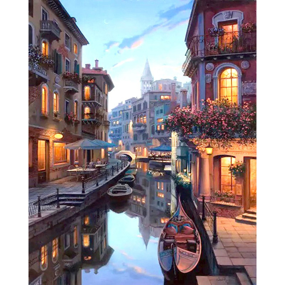 Frameless Venice Landscape Oil Painting Set with Pigment DIY Crafts Decoration Without inner frame 40x50cm