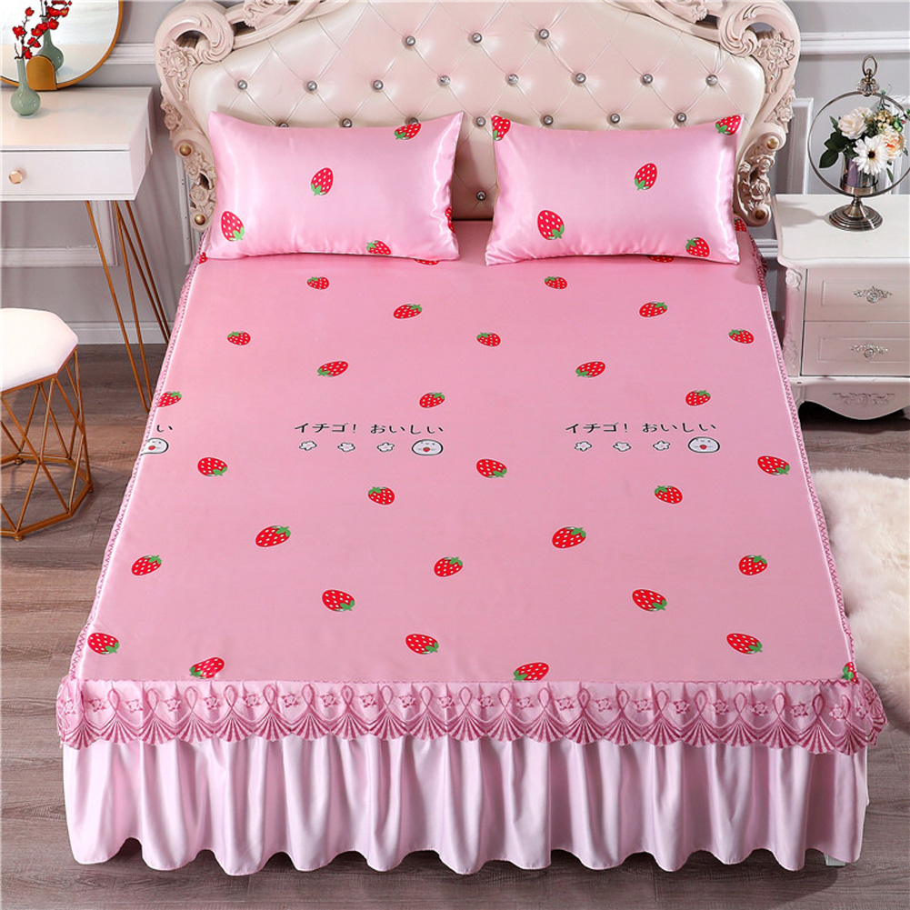 3Pcs/Set Summer Sleeping Mat+Pillowcase Set Washable Lace Bed Skirt Pillow Cover Strawberry Sweetheart