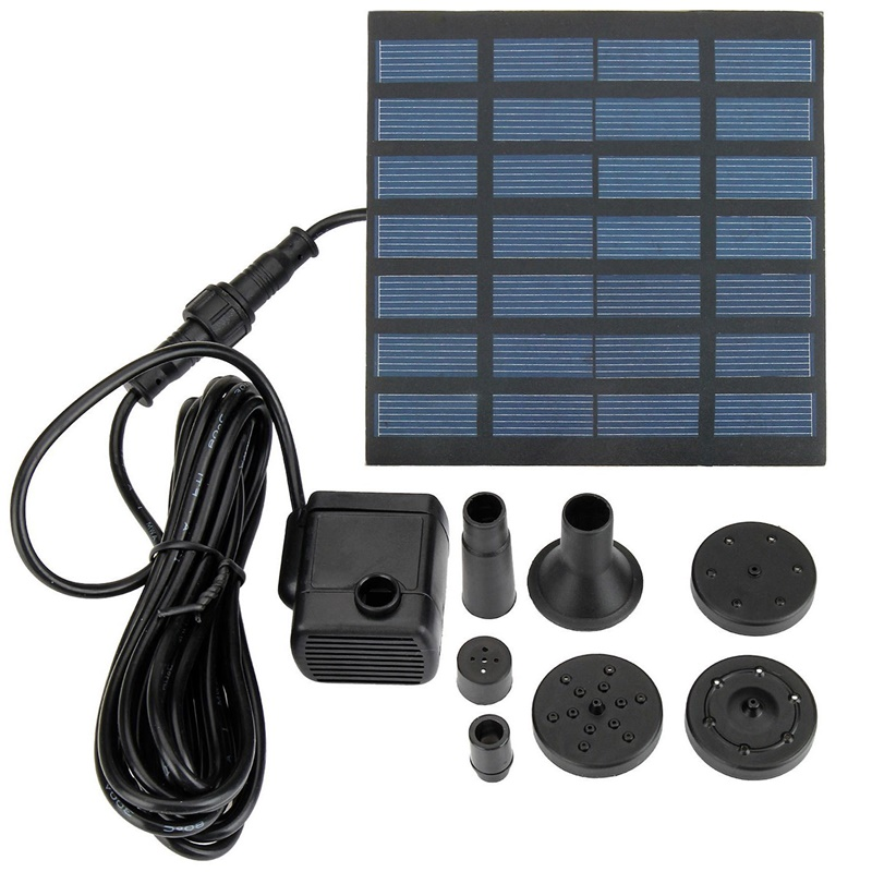 Solar Fountain Free Standing Floating Submersible Solar Water Pump Set with 4 Sprinkler Heads for Swimming Pool Garden black