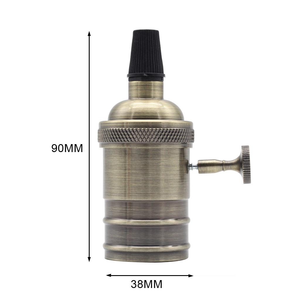 E27 Retro Style Aluminum Edison Lamp Holder with Switch for Decor Green bronze