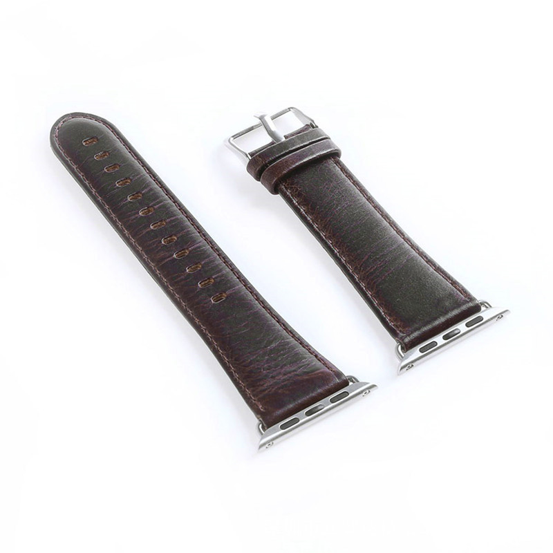 Watch Band 38-40 mm 42-44mm Pull-up Leather Watch Band Replacement Compatible with Apple Watch Series 4 Series 3 Series 2 Series 1  Dark brown_38-40MM