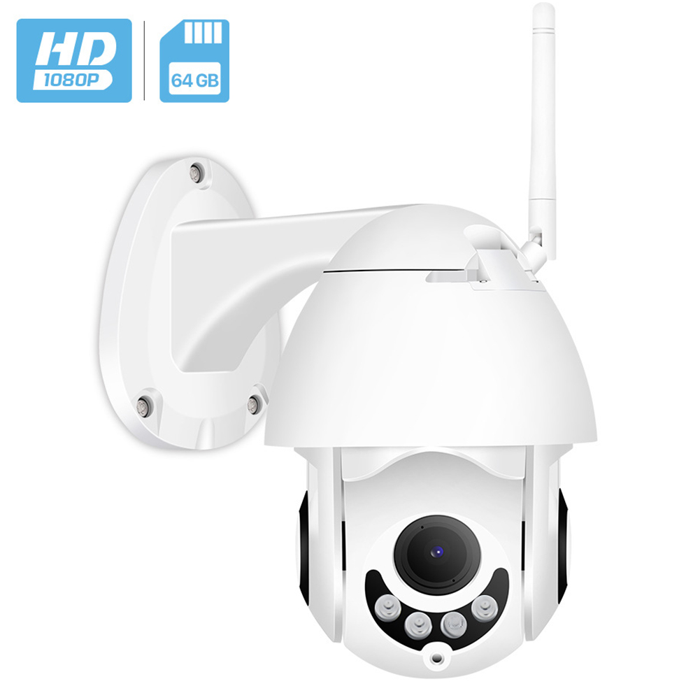 Mini Dome Shaped Camera Outdoor Waterproof Dustproof Wireless PTZ Network CMOS Camera 1080P US Plug