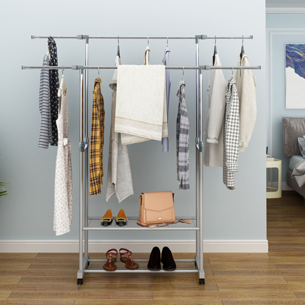 Scalable Clothes Hanger Metal Coat Rack with Wheels for Clothing Drying Rack gray